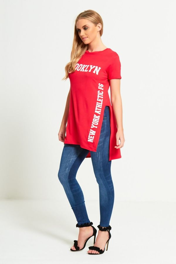 Purple Size Red Brooklyn Split Side T-Top
