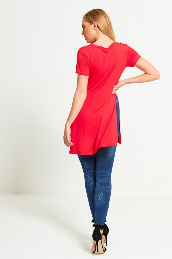 Plus Size Red Brooklyn Split Side T-Top