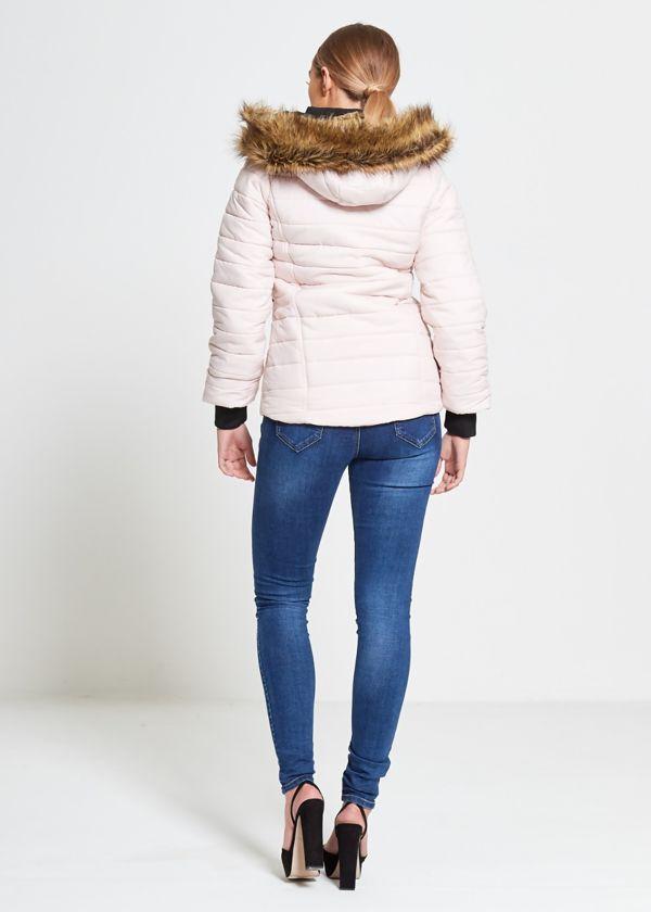 Faux Fur Lined Hood Puffa Coat