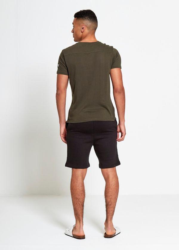 Khaki Collar Button V Neck T-Shirt