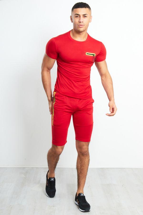 Red Zip Placket T-Shirt & Shorts Set