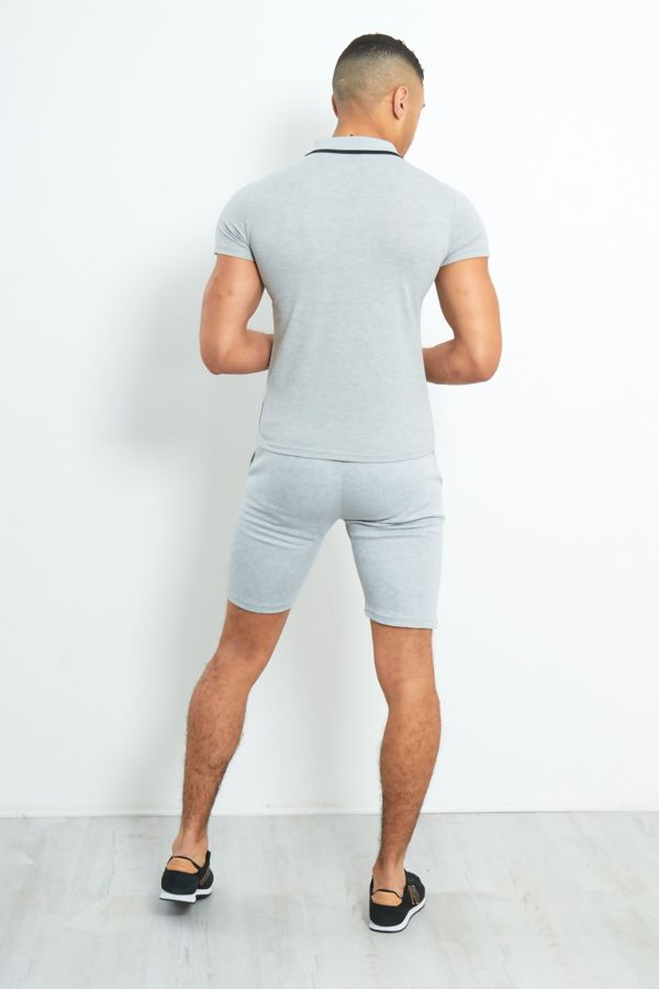 Grey Zip Placket Polo Shirt Short Set