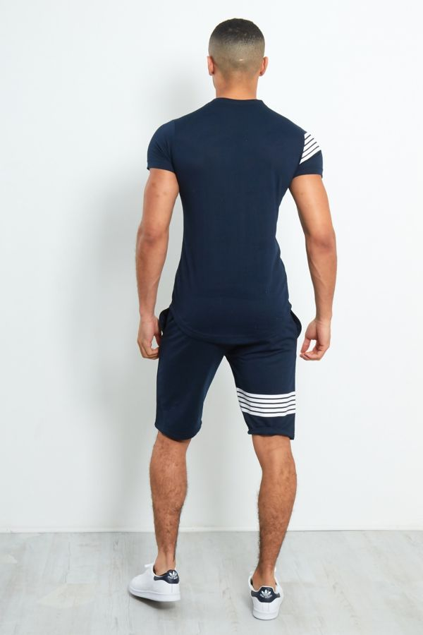 Contrast Paneled T-Shirt and Shorts Set