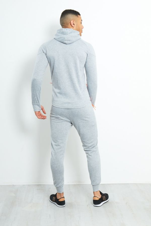Grey Zip Through Neon Placket Tracksuit