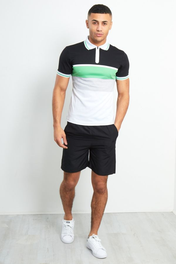 Color Block Short Sleeve Polo Zipped Shirt With Black Shorts