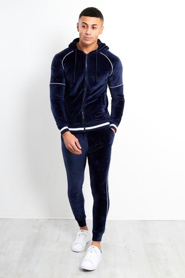 White Stripe Navy Velvet Skinny Fit Hood Tracksuit