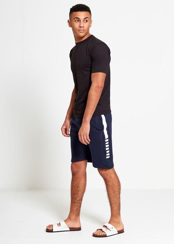 Navy Sport Stripe Sweat Shorts Set