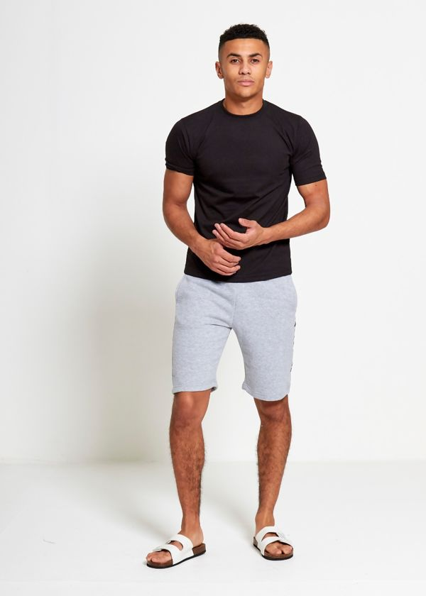 Grey Sport Stripe Sweat Shorts Set