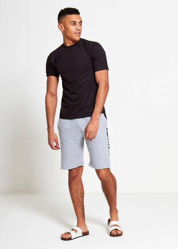 Grey Sport Stripe Sweat Shorts Set