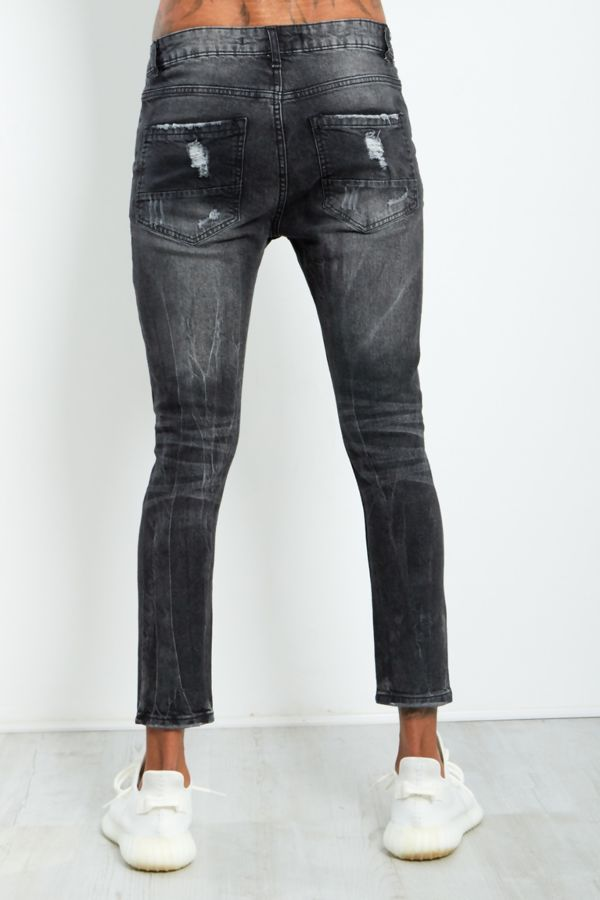 Black Extreme Distressed Denim Jeans