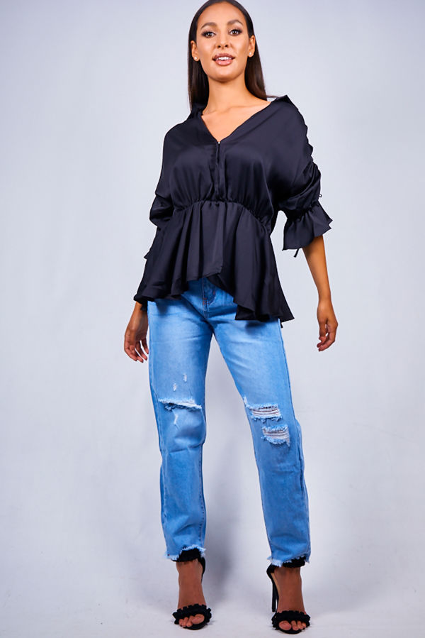 Black Peplum Plunge Neck Top
