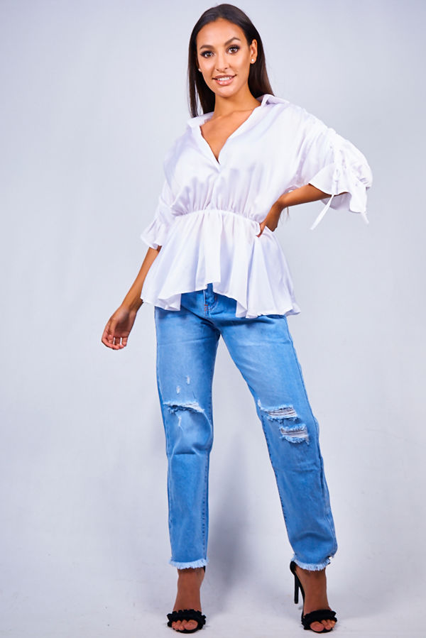 White Peplum Plunge Top