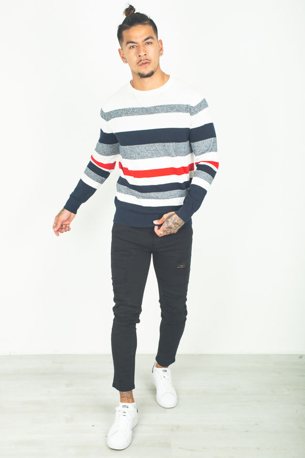 Navy Crew Neck Striped Jumper