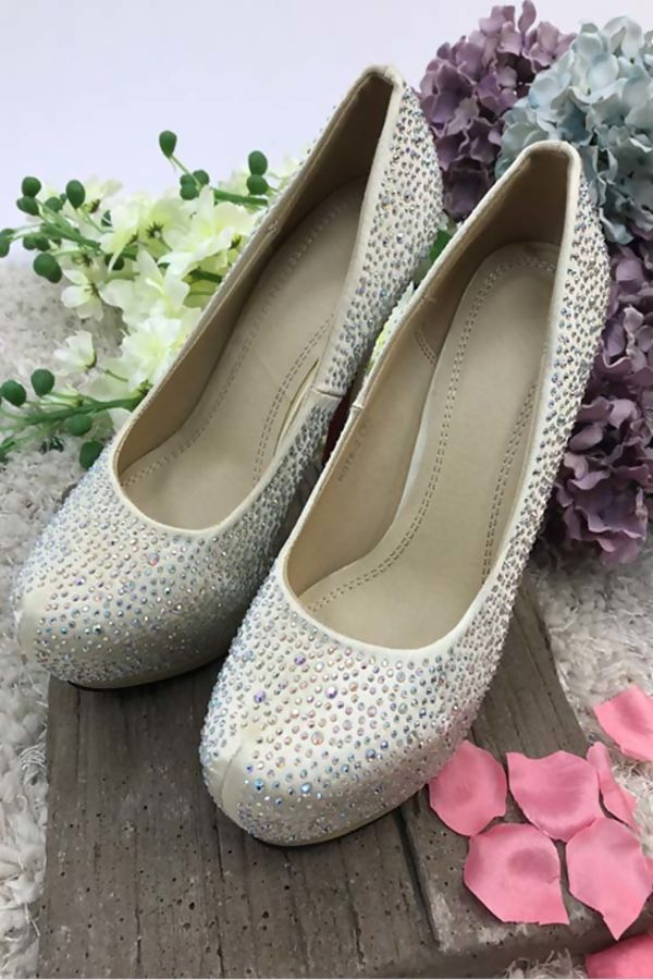 Light Gold Diamante High Heel Stiletto Platform