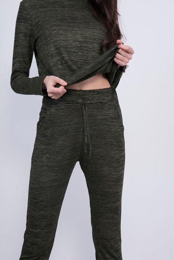 Khaki Back To Basic Plain Skinny Tracksuit
