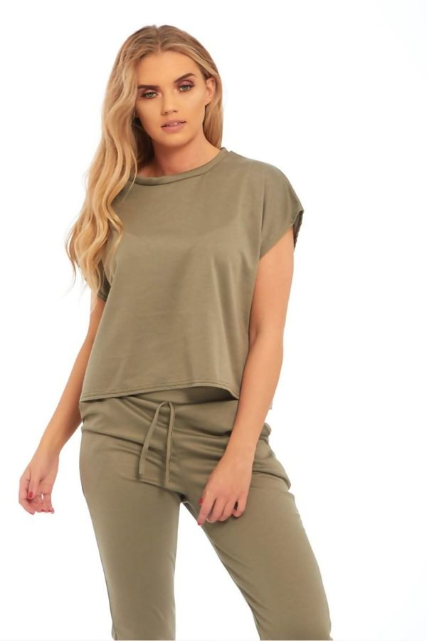 Khaki Block Color Crop Top Set