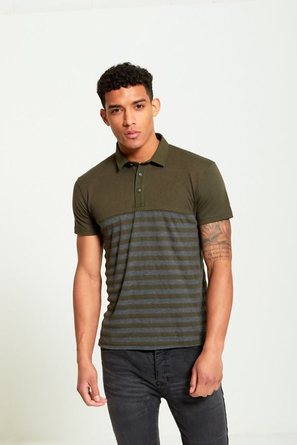Khaki Block Stripe Panel T-Shirt