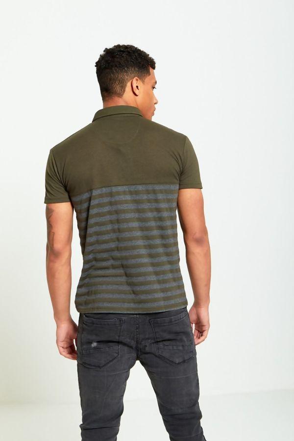 Khaki Block Stripe Panel T-Shirt