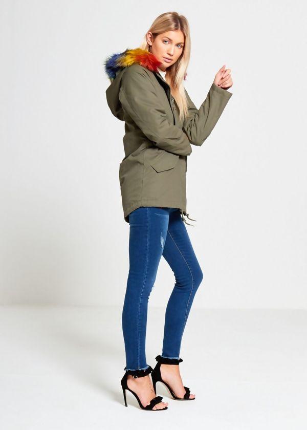 Khaki Brave Soul Multi Fur Jacket