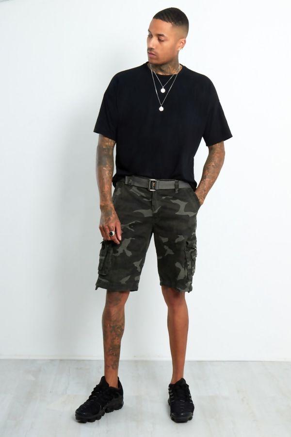 Khaki Camo Cargo Shorts