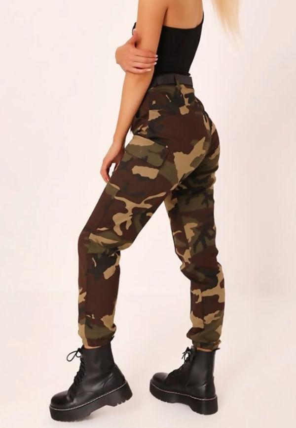 Khaki Camo Print Cargo Pants