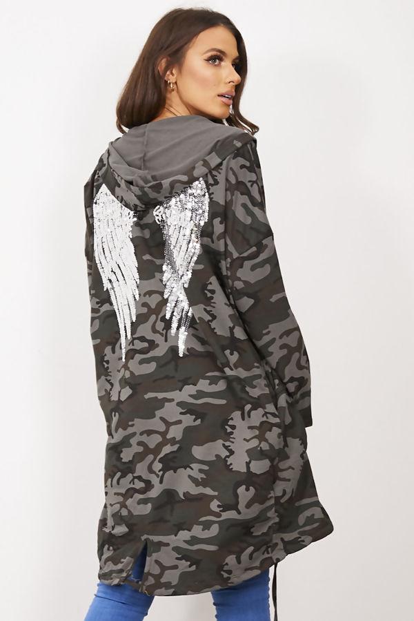 Camo Sequin Angel Wing Hooded Cardigan