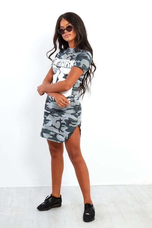 Khaki Camouflage 98 Printed Bodycon Dress