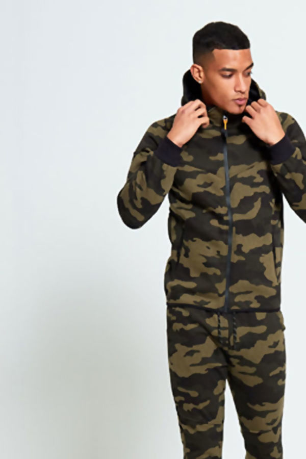 Khaki Camouflage Zip Through Tracksuit