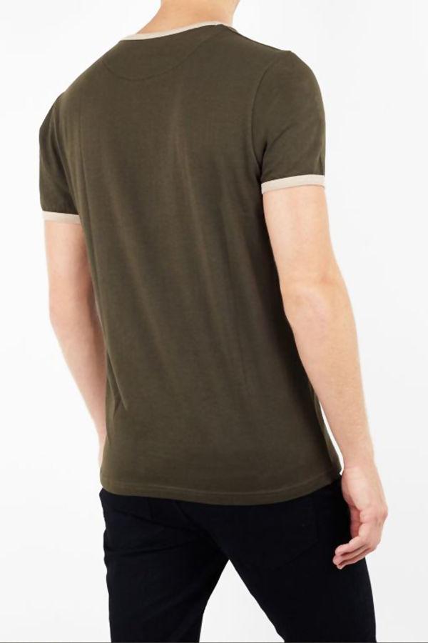 Khaki Contrast Crew T-Shirt