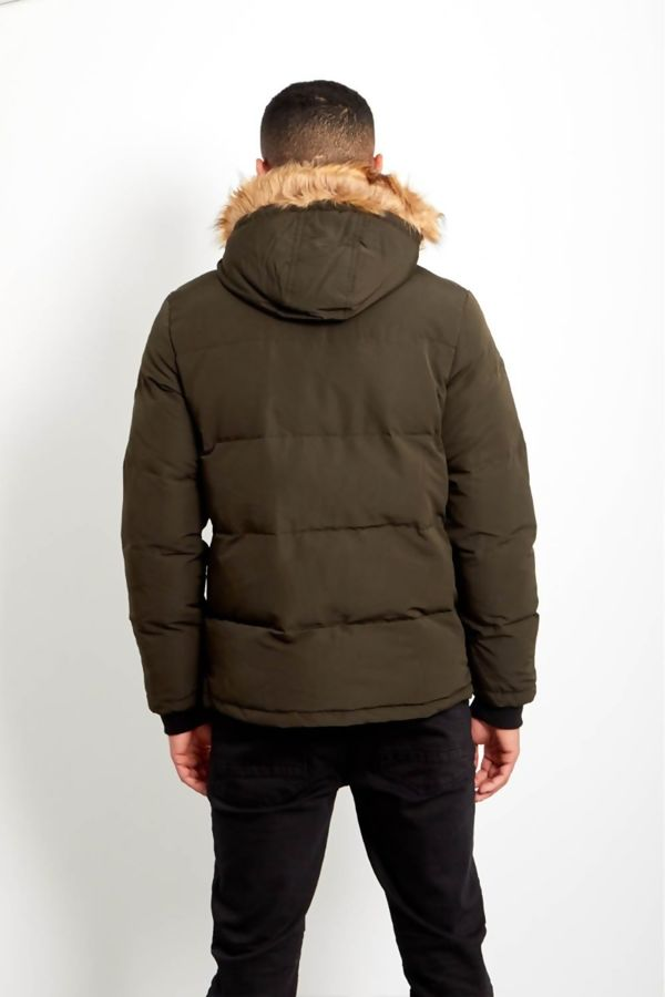 Khaki Contrast Faux Fur Hood Trim Padded Jacket