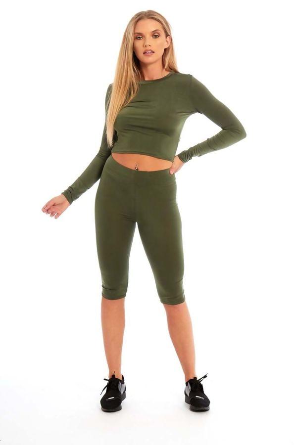 Khaki Crop Top And Legging Shorts Set