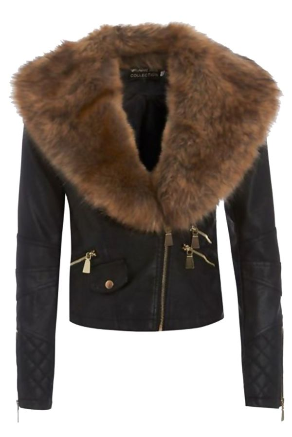 Khaki Cropped Leather Jacket With Brown Faux Fur