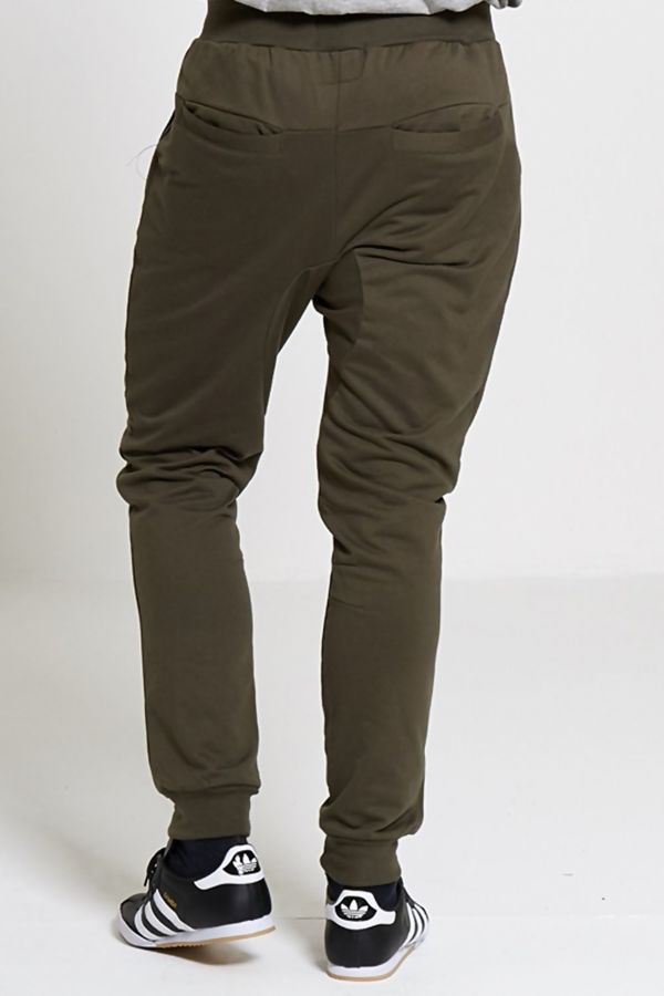Khaki Distressed Athleisure Jogging Bottoms