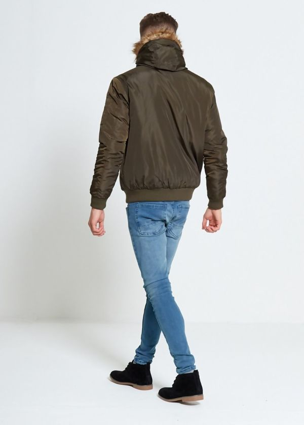 Khaki Faux Fur Hooded Jacket