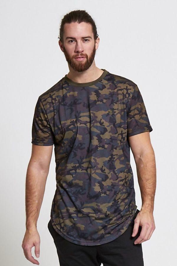 Khaki Fish Tail Camo Print T-shirt