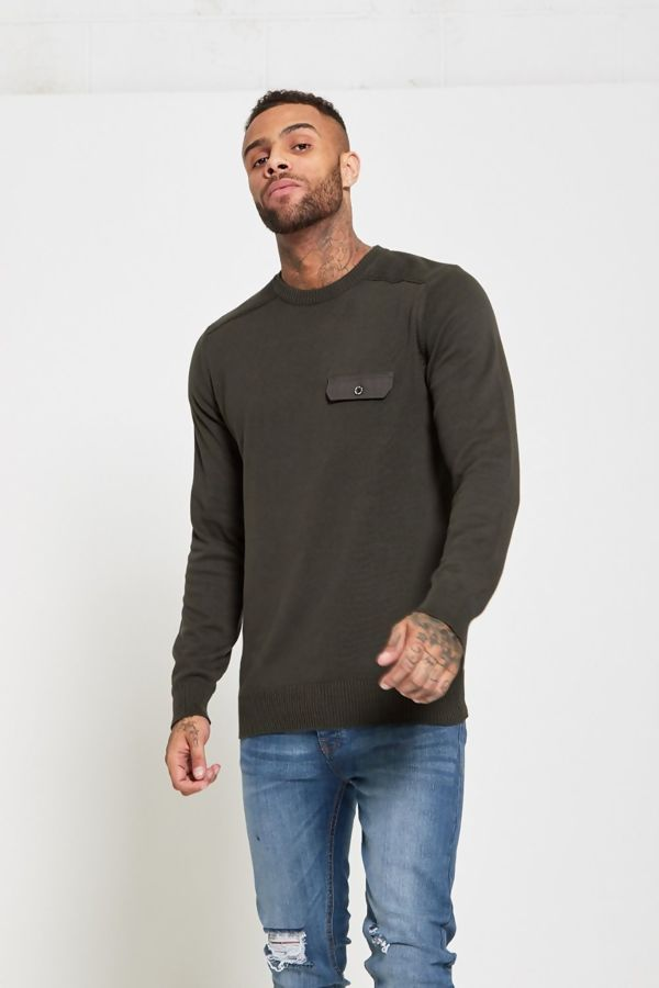 Khaki Flap Pocket Fine Knit Jumper