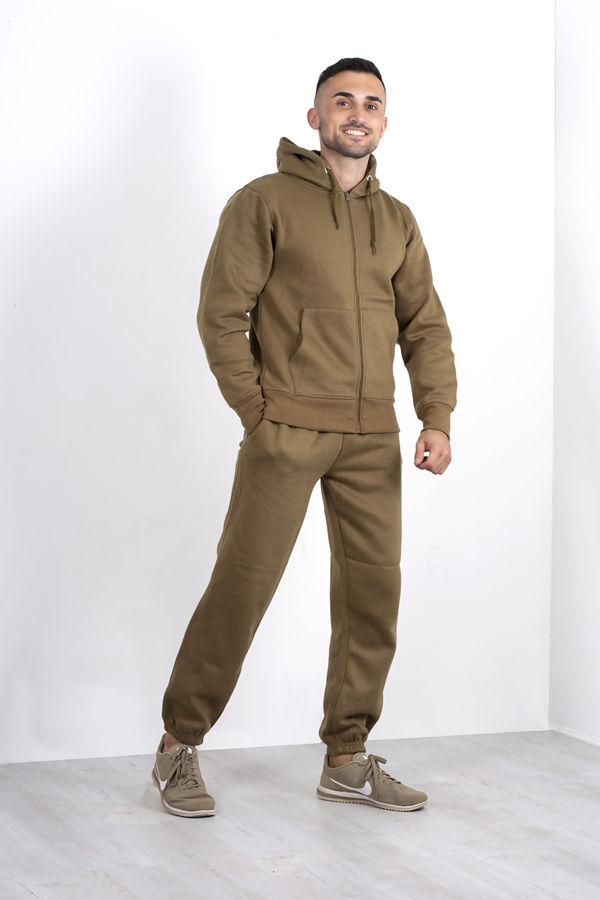 Khaki Fleece Jogging Pockets Bottoms Plain Tracksuit