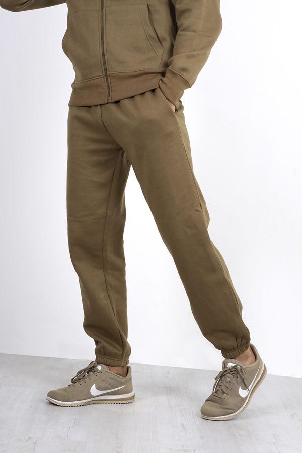 Khaki Fleece Jogging Pockets Bottoms Plain Tracksuit
