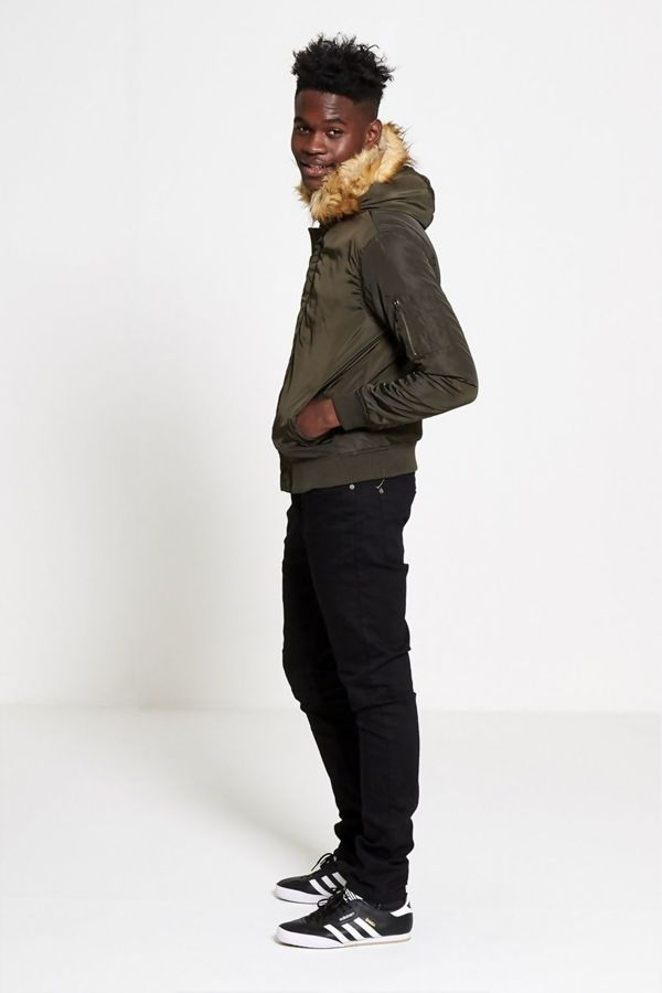 Khaki Fleece Lined Fur Hood Bomber Jacket