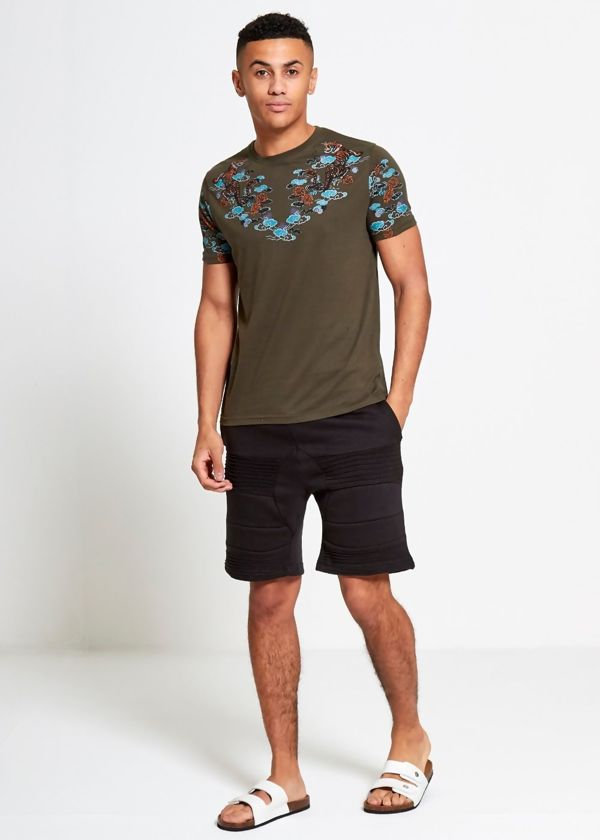 Khaki Floral Tiger Print T-Shirt