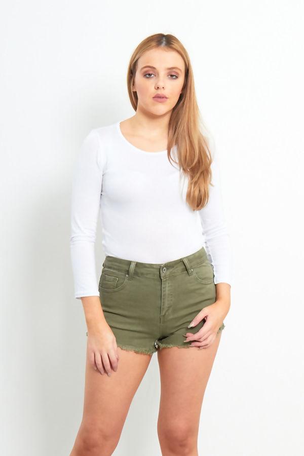Khaki Frayed Hem Denim Shorts