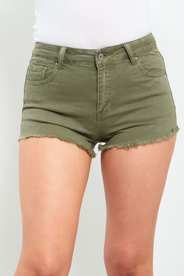 Khaki Frayed Hem Denim Shorts