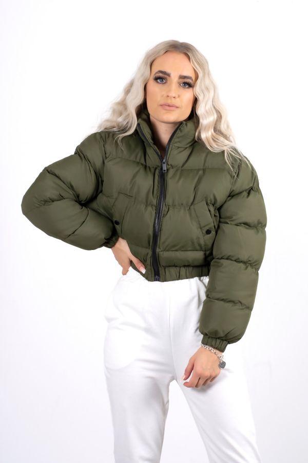 Khaki Funnel Neck Puffer Jacket