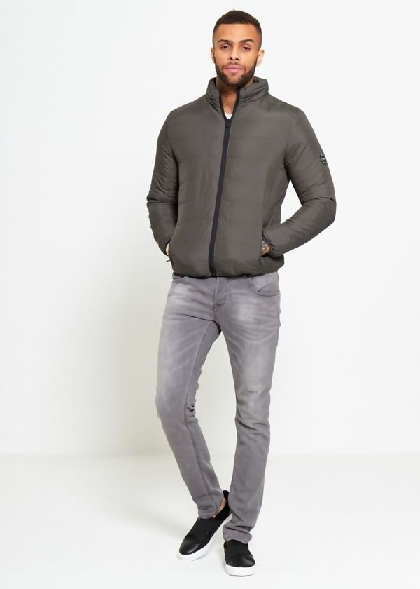Khaki Funnel Neck Quilted Bomber Jacket