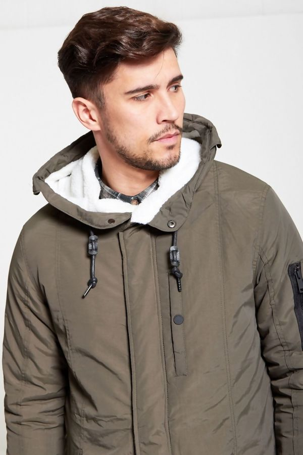 Khaki Fur Hood Lined Zip Detail Parka