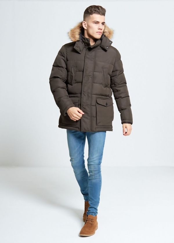 Khaki Fur Hooded Puffer Parka