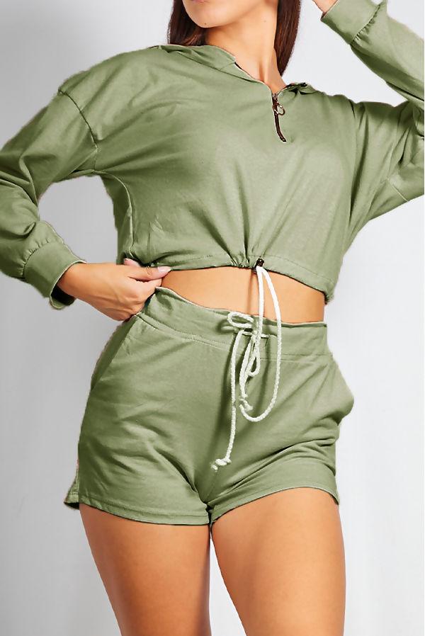 Khaki Half Zip Crop Hoody and Short Set