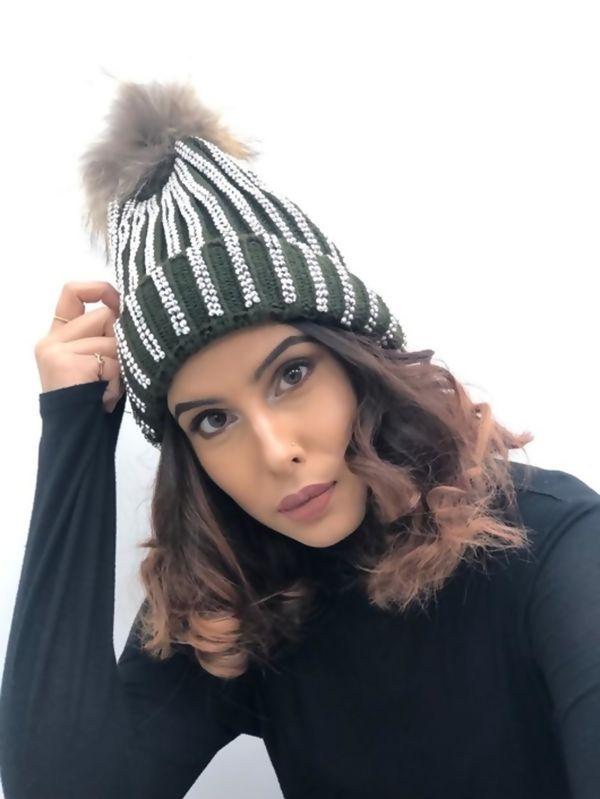 khaki Diamante Fur Detachable Pom Pom Beanie Hat