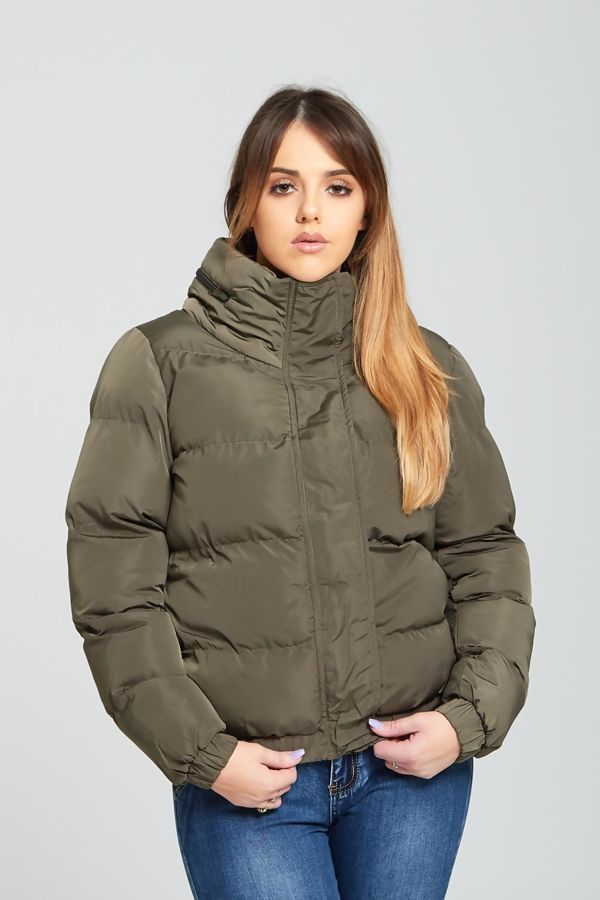 Khaki High Neck Quilted Puffer Jacket