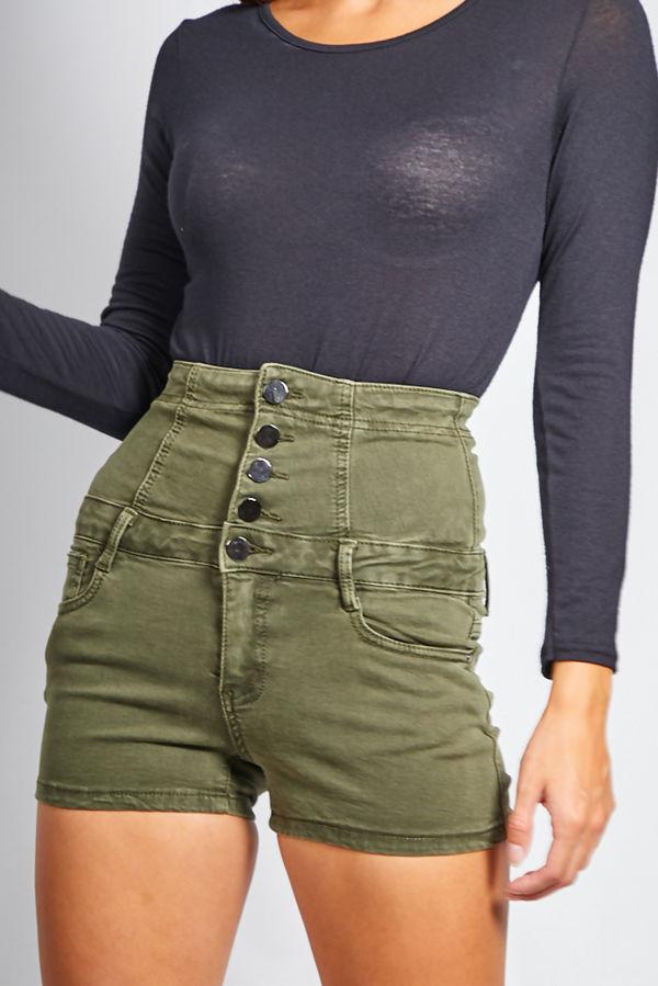 Khaki High Waist Button Up Shorts